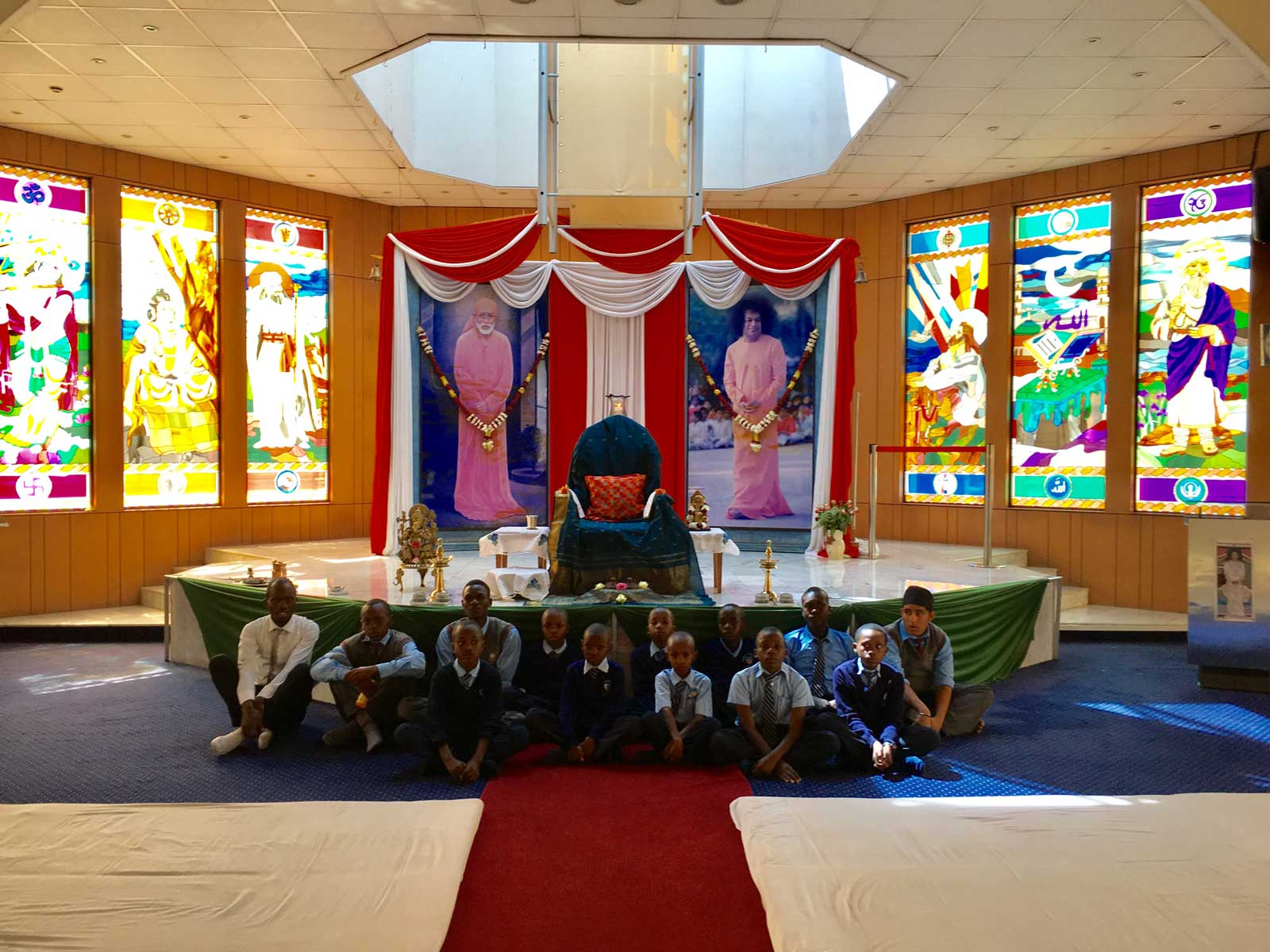 Students at the Prayer Hall at the Sai Centre in Nairobi