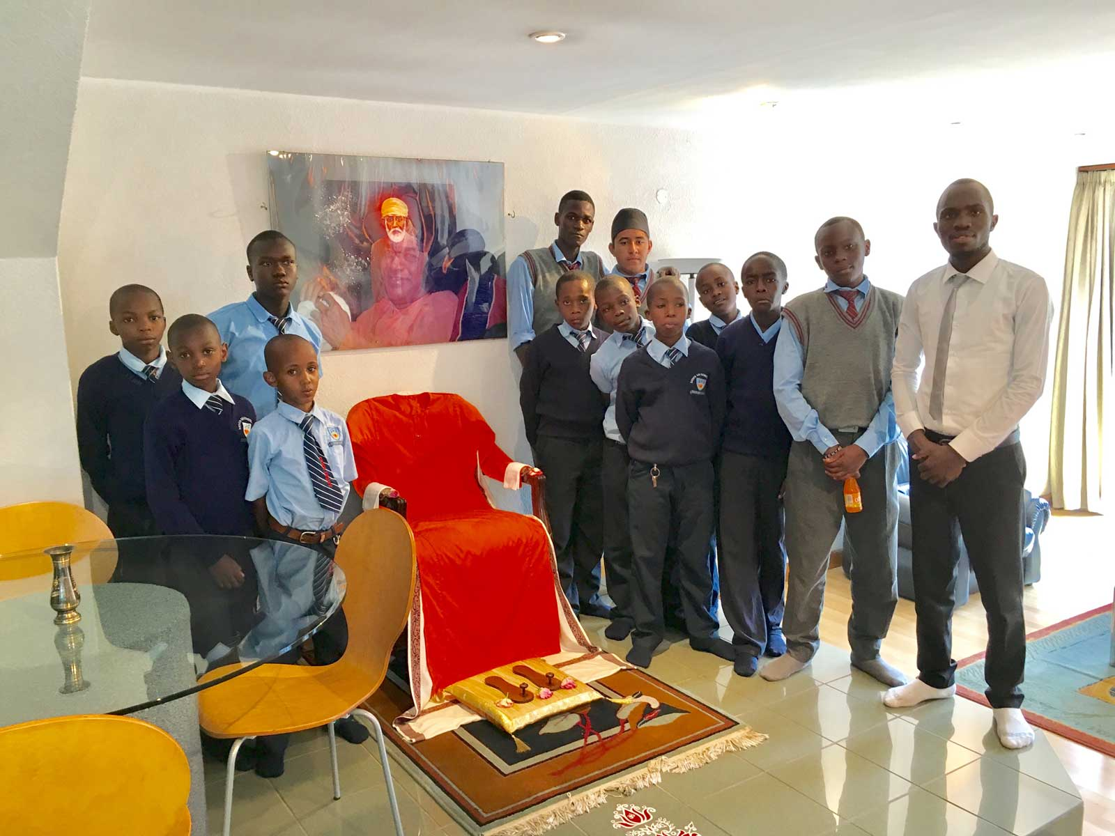 Students in Baba's apartment at the Sai Centre in Nairobi