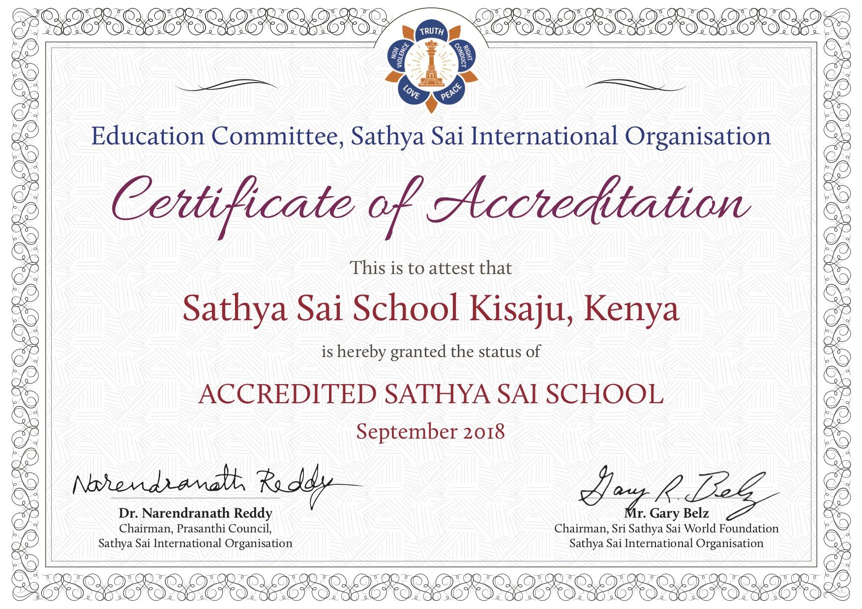 Accreditation Certificate - Sathya Sai School Kisaju Kenya