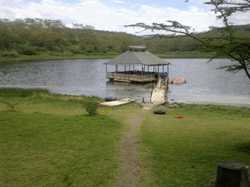 An image of lake Naivasha with a gazibo and wooden bridge